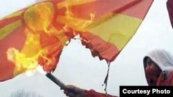Djegia e flamurit në Maqedoni, 31 janar 2012.