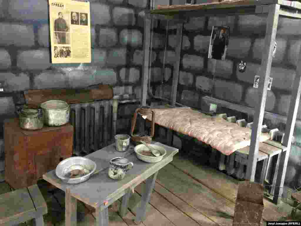 In the town of Pevek, a museum displays a recreation of a room at a gulag camp.