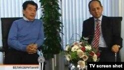 """Саясый качкындар, экс-премьер-министр Акежан Кажегелдин жана экс-министр Мухтар Аблязов """"K-Plus"""" телеканалына интервью берүүдө. Лондон, 13-март, 2010"""