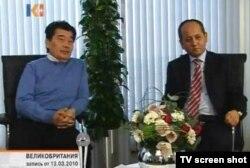 Политэмигранты Акежан Кажегельдин и Мухтар Аблязов дают интервью телеканалу «К-плюс». Лондон, 13 марта 2010 года.