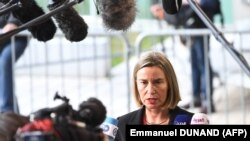 EU foreign policy chief Federica Mogherini arrives to attend an EU foreign affairs council in Luxembourg, April 16, 2018