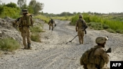 File photo of U.S. Marines in Afghanistan's southern Helmand Province.