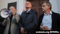 Уладзімер Някляеў, Мікалай Статкевіч і Анатоль Лябедзька на акцыі 23 верасьня