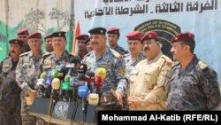 مسؤولون أمنيون في الموصل يتحدثون في مؤتمر صحفي