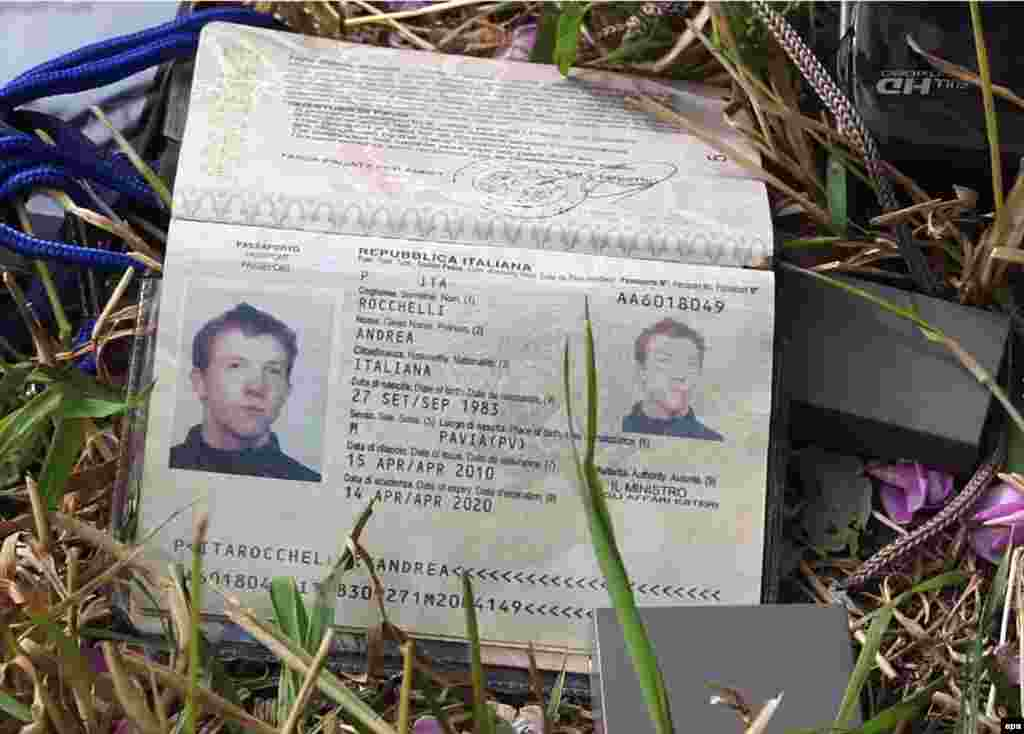 The passport of an Italian photojournalist, 30-year old Andrea Rocchelli, who were killed on May 24 near the flashpoint of Slovyansk, is shown in the eastern Ukrainian city. (epa)