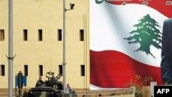 ارتش لبنان در خیابان های اطراف پارلمان در بیروت.
