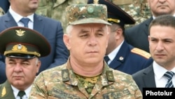 Nagorno-Karabakh - General Levon Mnatsakanian, the commander of the Karabakh Armenian army, attends an official ceremony in Stepanakert, 9May2016.