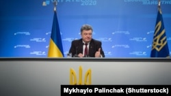 Ukrainian President Petro Poroshenko at a late-September press conference in Kyiv