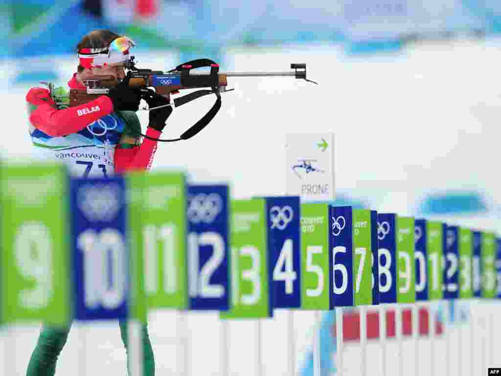 Belarusian Syarhey Novikau takes aim in the men's 10-kilometer sprint biathlon final in the 2010 Olympics. Cash awards in both Belarus and Ukraine include $150,000 for gold medals, $75,000 for silver, and $50,000 for bronze. Belarus won three medals in Vancouver...