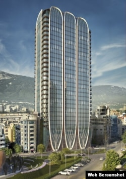 An artist's rendition of what Sofia's Golden Century tower is meant to look like if construction is completed.