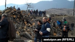Armenia - Environmental activists protest at Teghut forest, 15Jan2012.