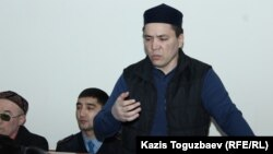 Almat Zhumaghulov makes his final statement at his trial in Almaty in December 2018.