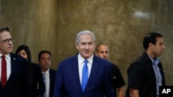 Israel's Prime Minister Benjamin Netanyahu arriving for a weekly cabinet meeting. File photo
