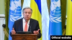 Генеральний секретар ООН Антоніу Ґутерріш. Київ, 9 липня 2017 року