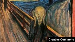 "Фрагмент картины ""Крик"" норвежского художника Эдварда Мунка"