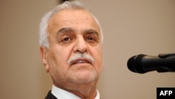 Iraq's fugitive Vice President Tariq al-Hashimi speaks during a press conference in Istanbul on May 4.