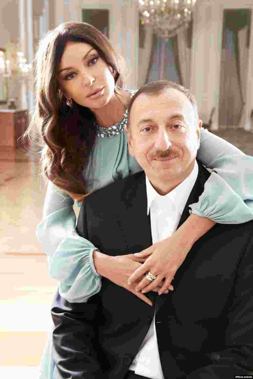 An offical handout photo of President Ilham Aliyev with his wife, Mehriban Aliyeva
