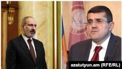 Премьер-министр АрменииНикол Пашиняни лидер Карабаха Араик Арутюнян