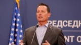 SERBIA -- U.S. President's envoy for Serbia-Kosovo talks Richard Grenell speaks during a joint press conference with Serbian president following their meeting in Belgrade, September 22, 2020