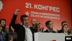 Лидерот на СДСМ Зоран Заев на предизборен митинг