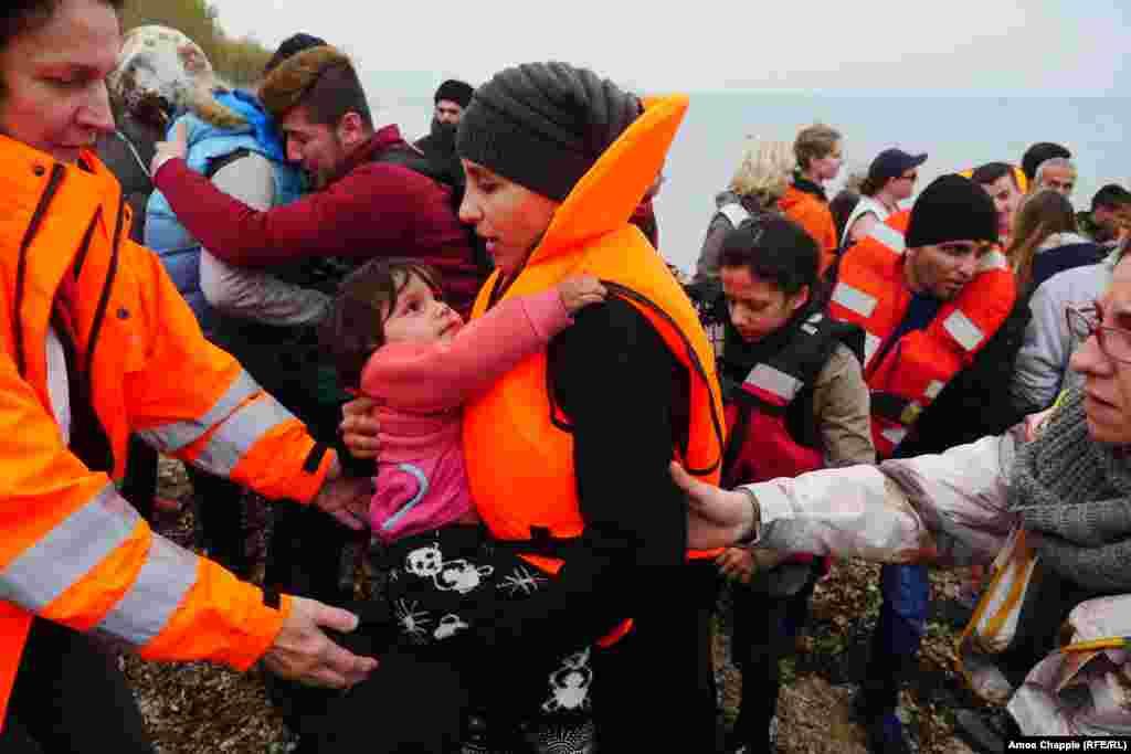 Refugees arriving on Greek island Lesbos on February 26.