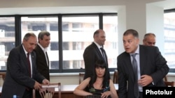 Armenia - Davit Harutiunian (R) and other members of a government team tasked with negotiating with the opposition Armenian National Congress, 18Jul2011.
