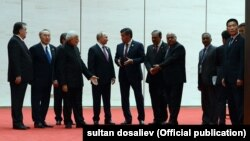 Лидеры стран ШОС перед началом саммита, 10 июня 2018 г.