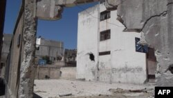 A handout picture released by the Syrian opposition's Shaam News Network allegedly shows the destruction in Homs