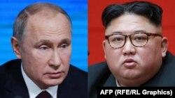 Russian President Vladimir Putin (left) and North Korean leader Kim Jong Un (file photos)