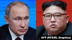 Президент Росії Володимир Путін (л) і лідер КНДР Кім Чен Ин