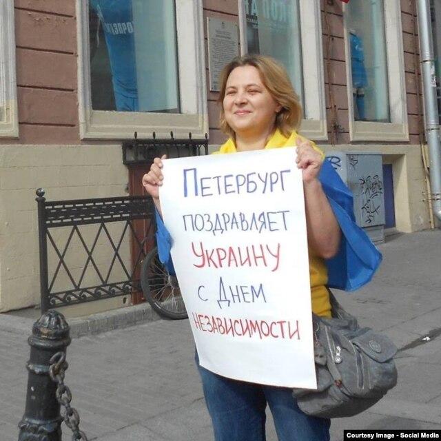 Наталья Цымбалова на пикете 24 августа