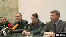 Лев Пономарев, Сергей Удальцов, Александр Аверин, Владимир Рыжков на пресс-конференции