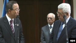 UN chief Ban Ki-moon with Palestinian President Mahmud Abbas in Ramallah on January 16.