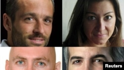A combo photo shows the four journalists who had been missing in Libya.