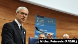 Serbian President Boris Tadic addresses the summit in Sarajevo.