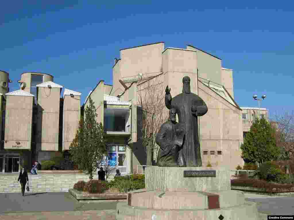 "A statue of the early Christian missionaries Cyril and Methodius, known as the ""Apostles to the Slavs,"" outside the state university in Skopje"