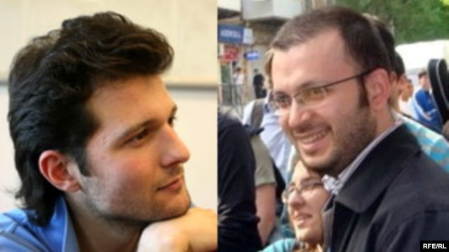 Activists Adnan Hajizada (left) and Emin Milli were beat up while sitting with friends in a cafe, then charged for assault.