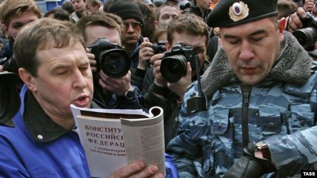 """Андрей Илларионов на акции протеста оппозиции """"Марш несогласных"""""""