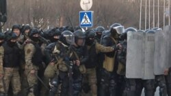 Kyrgyz Police Disperse Protesters With Water Canon
