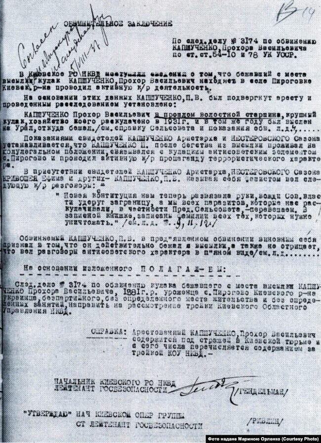 Обвинувальний висновок у справі Прохора Капшученка