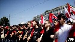 Участники забастовки. Афины, 28 июня 2011 года.