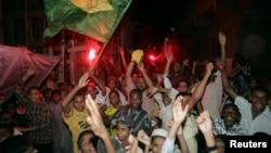Pakistani soccer fans celebrate a Brazilian World Cup victory over Australia in Karachi in 2006.