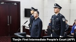 Fostul șef al Interpol, Meng Hongwei, în tribunalul de la Tianjin, China, unde se citea verdictul, 21 ianuarie 2020