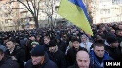 Під Міністерством внутрішніх справ відбувся мітинг проти переатестації міліціонерів, Київ, 13 грудня 2015 року