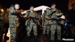 Nagorno-Karabakh - Armenian military volunteers arrive in Stepanakert, 3Apr2016.