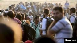 Pamje e imigrantëve në kufirin ndërmjet Maqedonisë e Greqisë