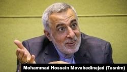 Former Iranian diplomat Hossein Sheikholeslam speaks to reporters in July 2016.