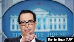 U.S. Treasury Secretary Steven Mnuchin speaks on sanctions on Iran's supreme leader, June 24, 2019