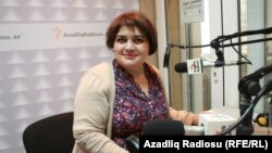 Khadija Ismayilova, in the studio at RFE/RL's bureau in Baku.