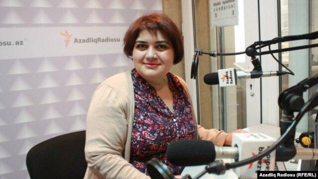 Khadija Ismayilova, in the studio at RFE/RL's bureau in Baku.